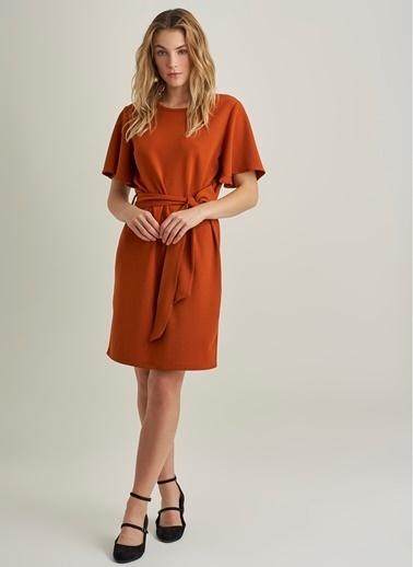 NGSTYLE Bağlama Detaylı Elbise Kiremit
